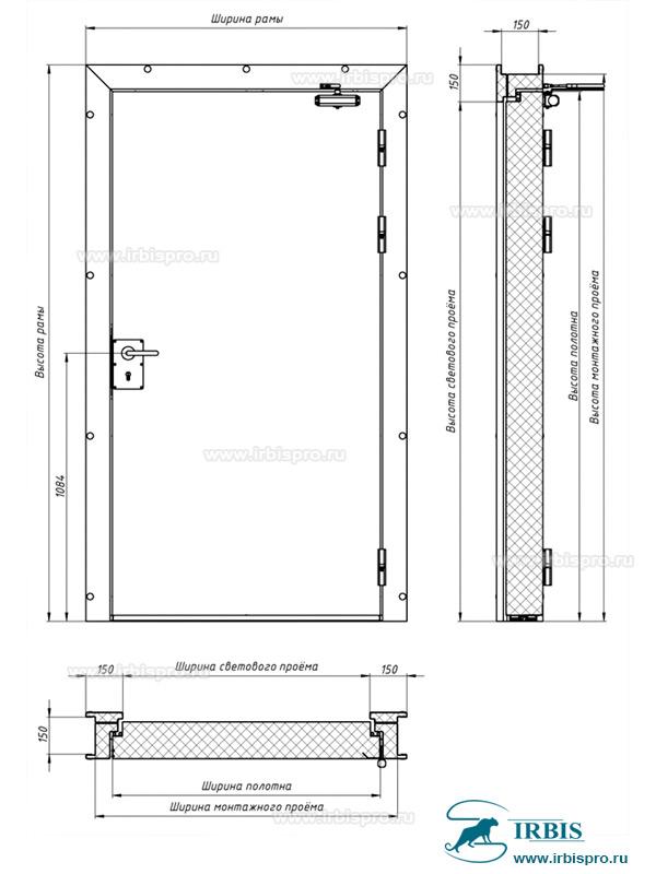 Конструкция распашной одностворчатой противопожарной двери
